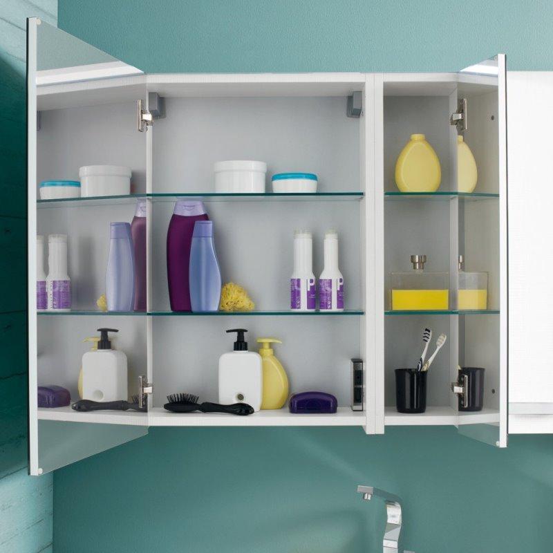 Specchiera bagno con vani contenitore Simply. Disponibile cm 50, 70, 90.
