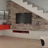Progetto per sfruttare il sottoscala in un soggiorno moderno
