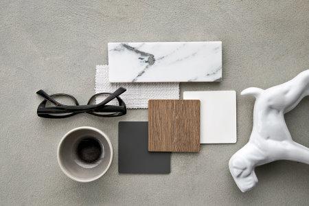 Moodboard #2 - marmo chiaro abbinato al legno scuro