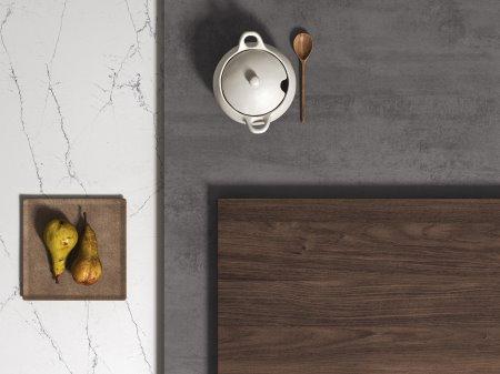 Moodboard #1 - marmo chiaro abbinato al legno scuro