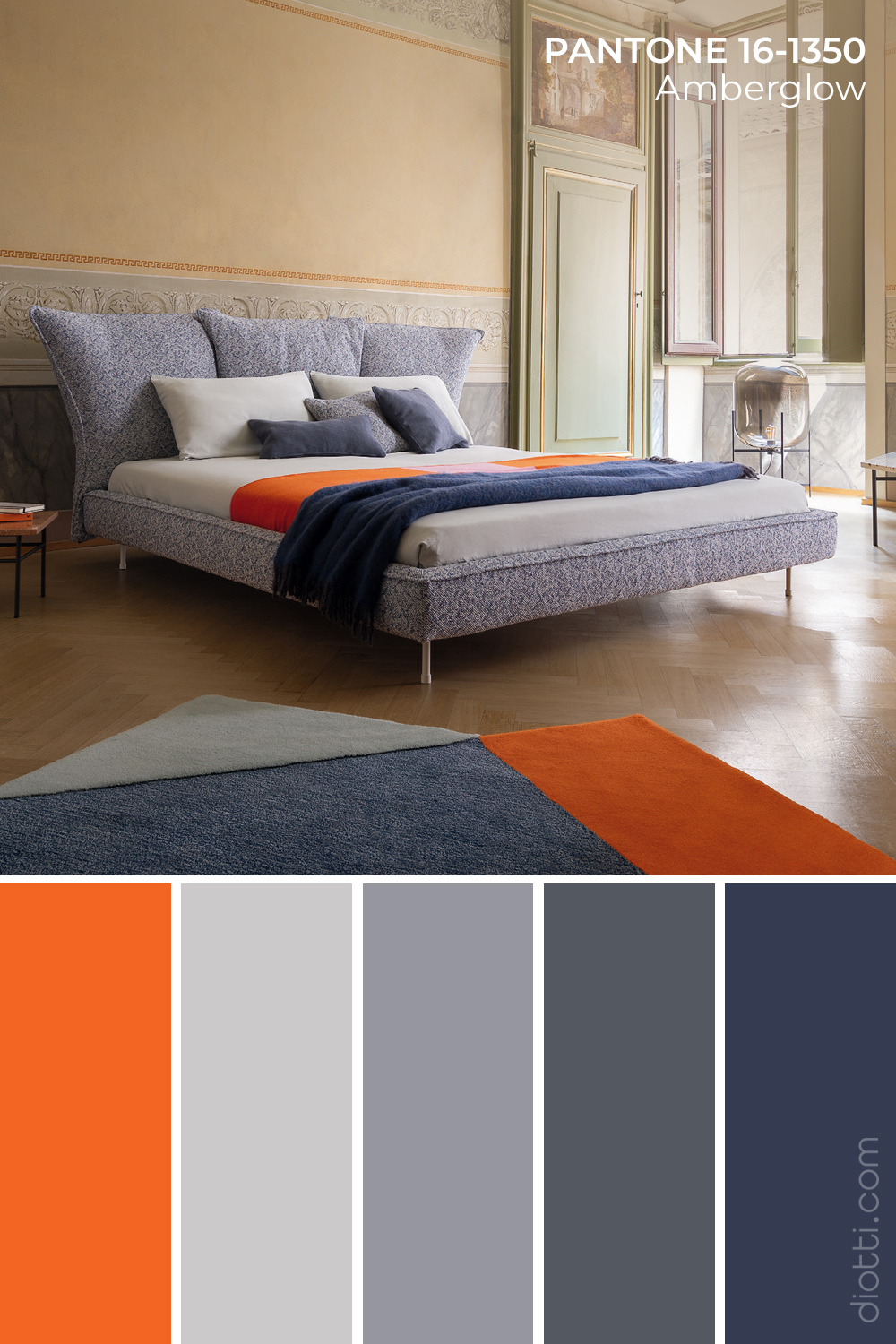 Letto Madame C in Pantone Amberglow