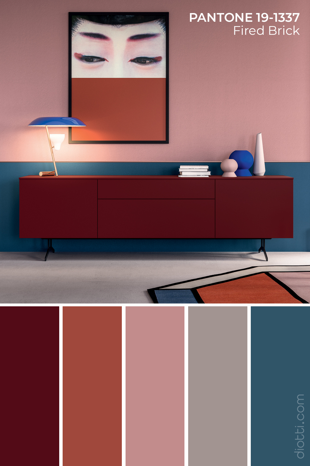 Credenza Roswell in Pantone Fired Brick