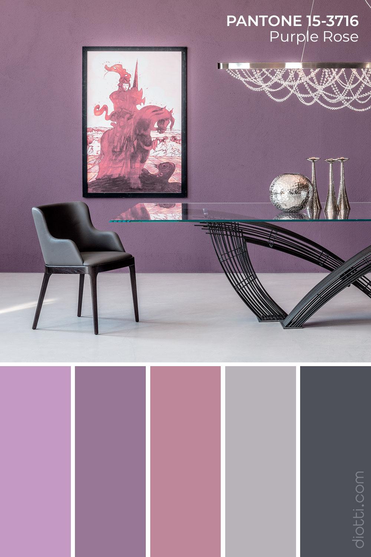Letto Hystrix con parete in Pantone Purple Rose