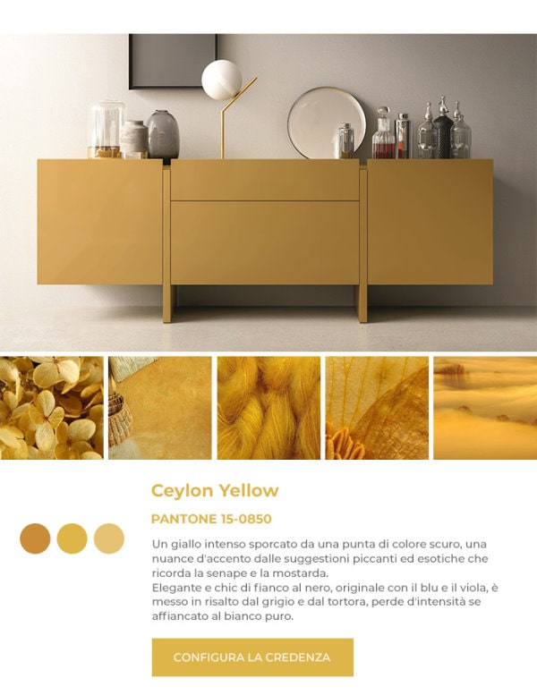 Credenza gialla in Pantone Ceylon Yellow