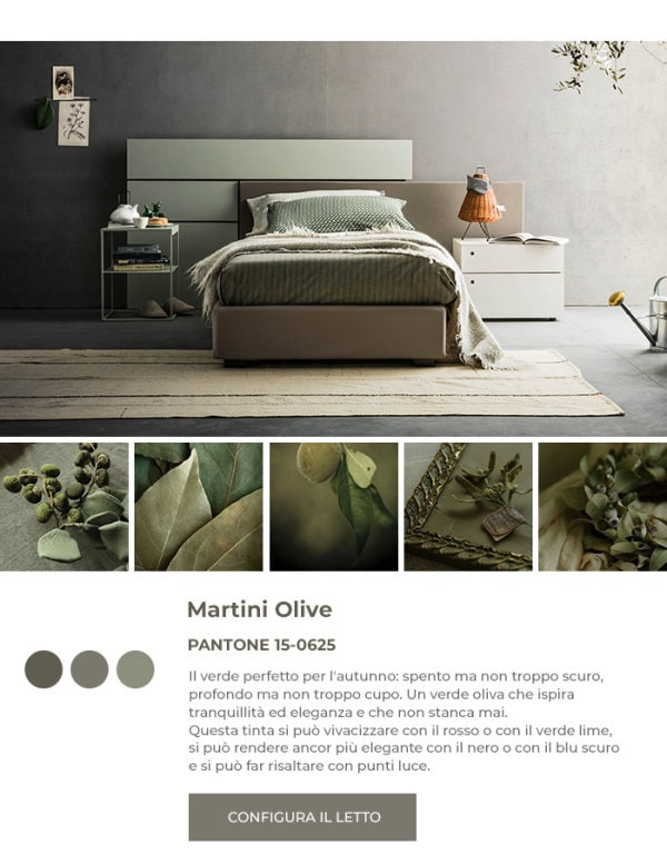 Letto verde in Pantone Martini Olive