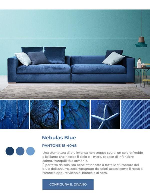 Divano blu in Pantone Nebulas Blue