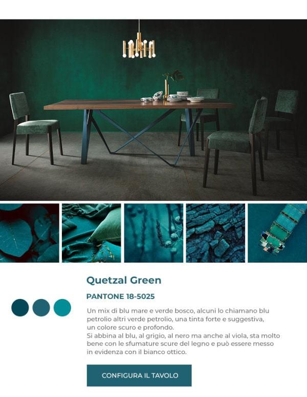 Sedie in velluto verde Pantone Quetzal Green