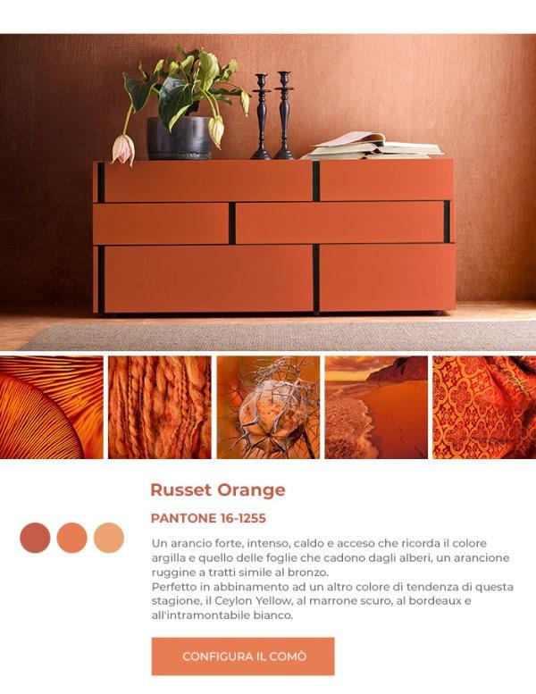 Cassettiera arancione in Pantone Russet Orange