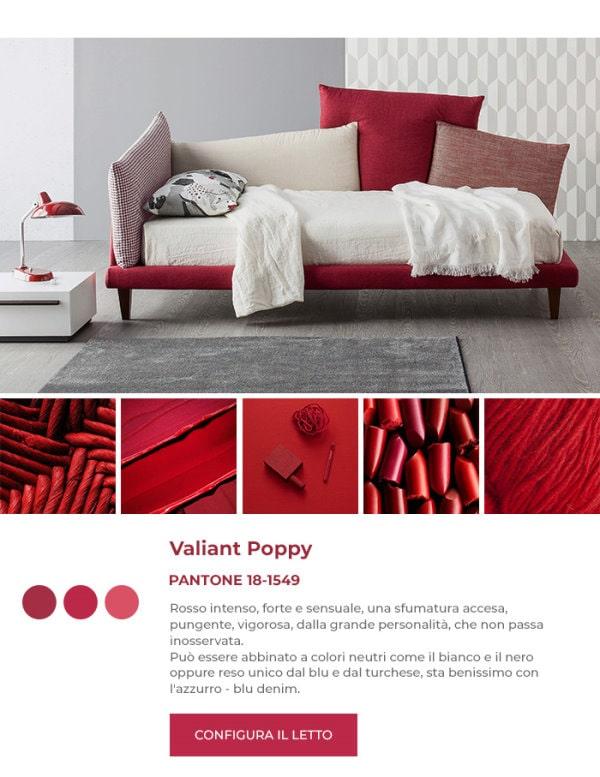 Letto imbottito rosso in Pantone Valiant Poppy