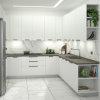 Progetto cucina bianca a ferro di cavallo