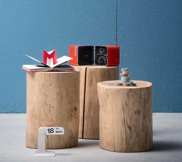 Pezzi di tronco di rovere trasformati in comodini Ciocco