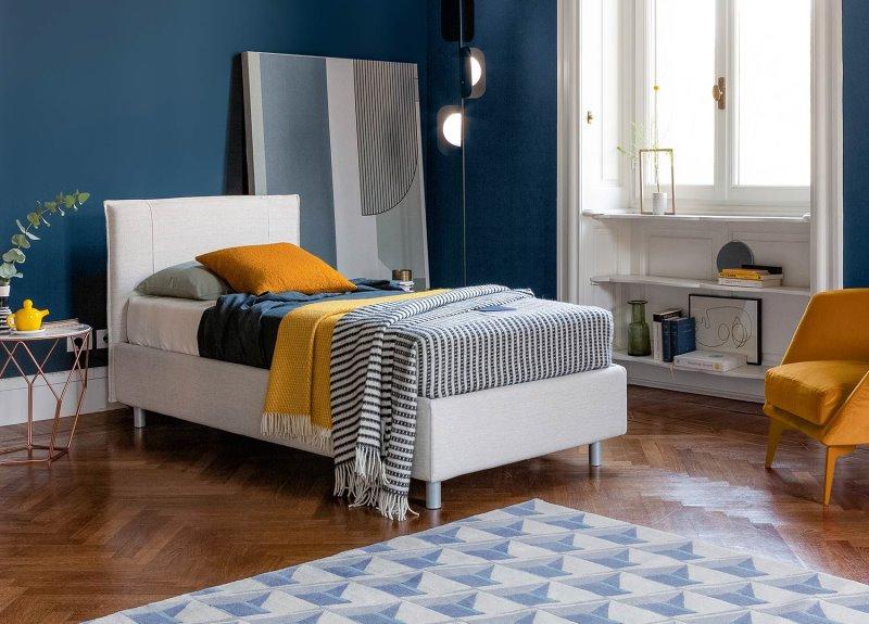 Letto Paco - letto singolo per cameretta, fisso o con box contenitore, in tessuto bianco
