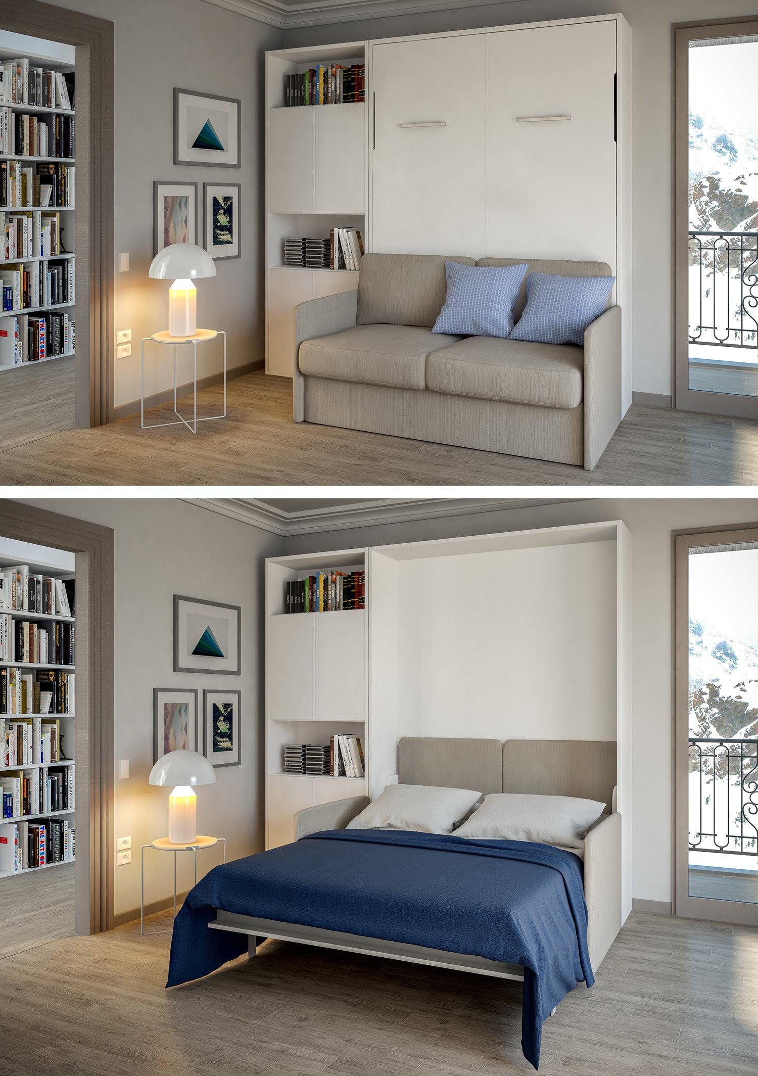 Letto a scomparsa abbattibile. Da mobile con divano davanti a letto per due persone.