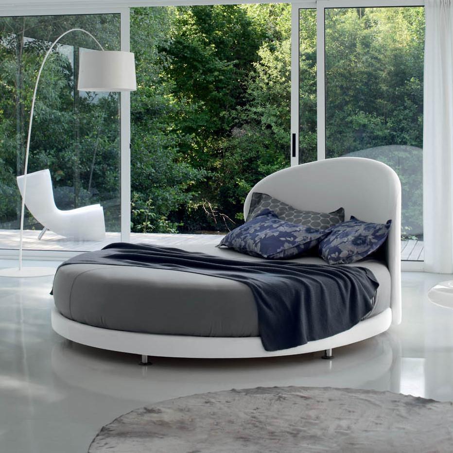 Letto Globe - letto rotondo con testiera arrotondata, in similpelle bianca