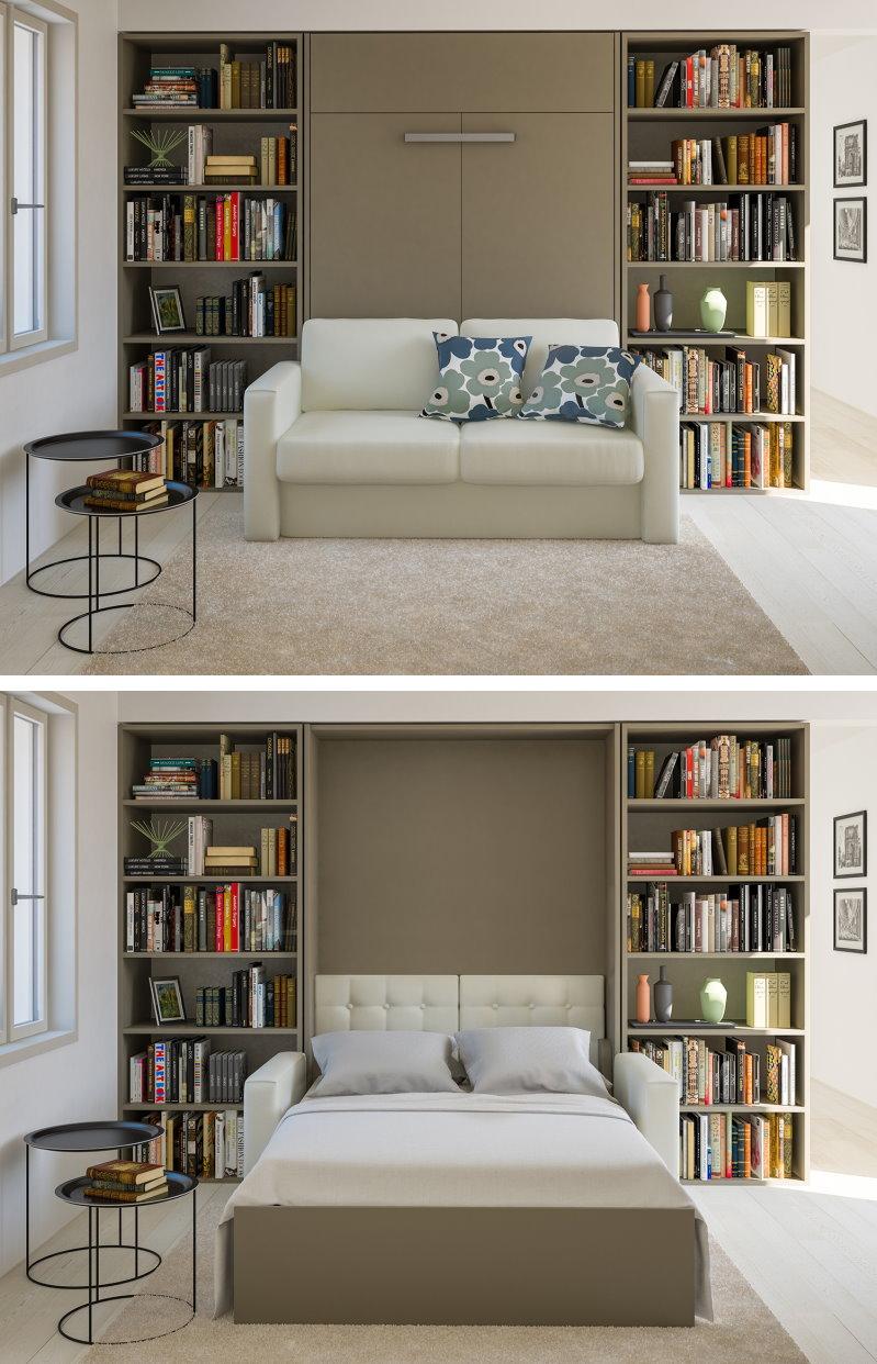 Mobile a scomparsa a parete con divano, trasformabile in letto matrimoniale.