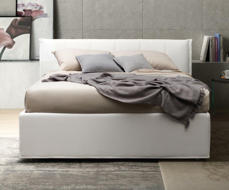 Letto Easton - letto in tessuto bianco con box contenitore ad alzata semplice o doppia