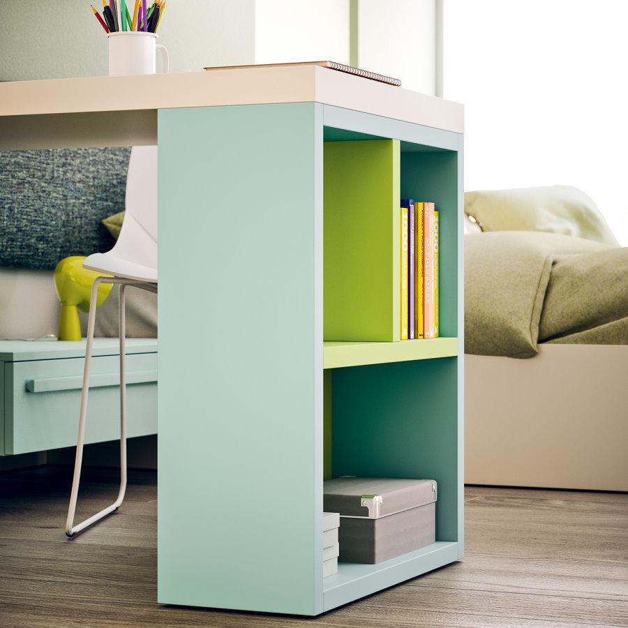 Scrivania integrata all'armadio, con fianco libreria - Cameretta Wonder P18