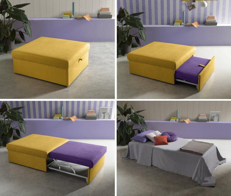 Il pouf si trasforma in letto estraendo il materasso da sotto la struttura
