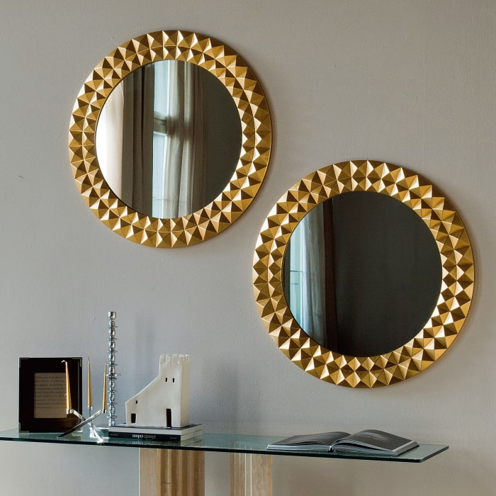 Specchio tondo con cornice dorata Egypt