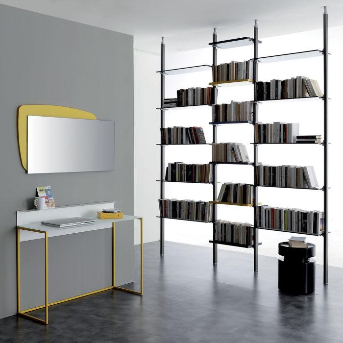 Specchio per consolle con cornice angolare gialla