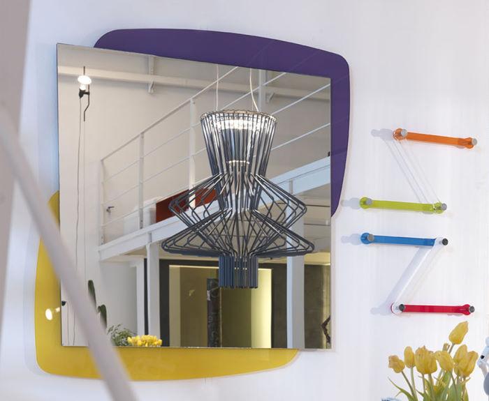 Specchio per bagno con cornice bicolore