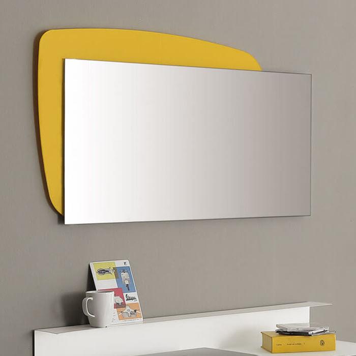 Specchio per bagno personalizzato con cornice su due lati gialla