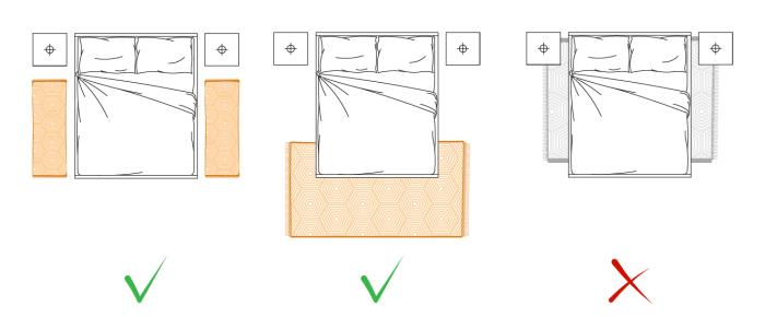Idee come posizionare il tappeto in salotto sala da - Tappeto scendiletto ...
