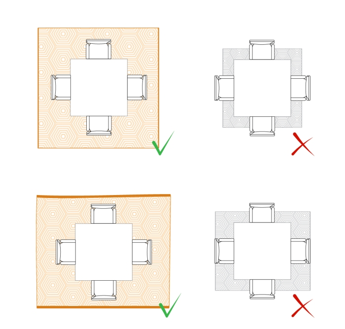 Idee come posizionare il tappeto in salotto sala da for Salotto con tavolo da pranzo