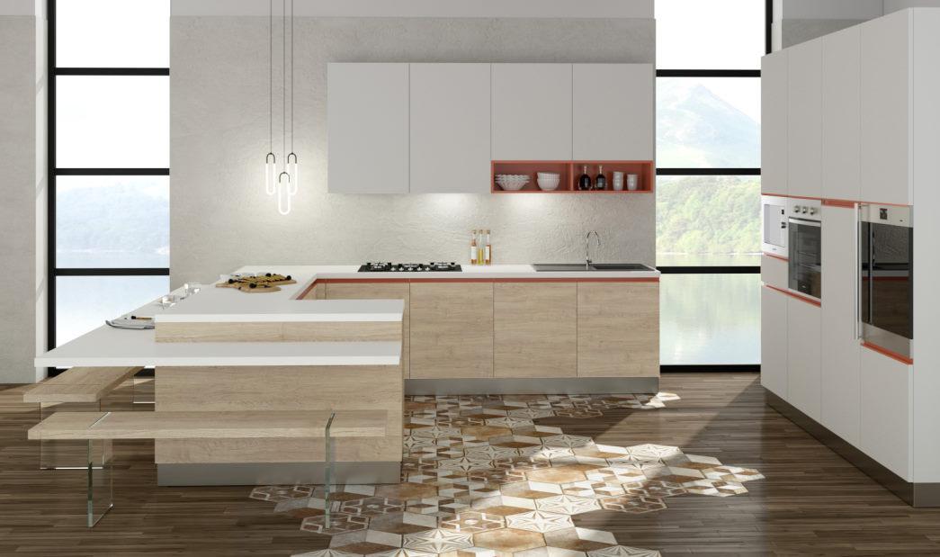 Cucina bianca con gola arancione e basi in legno Sistema 901