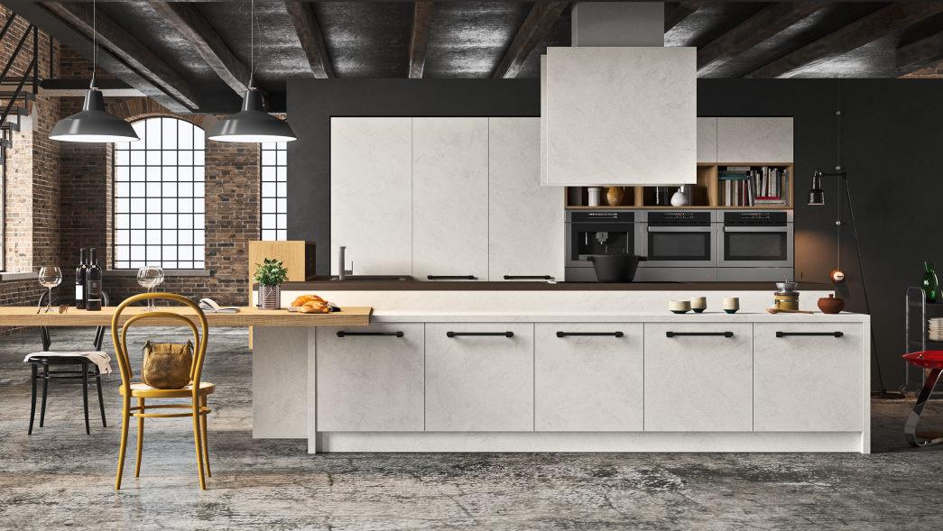 Cucina a isola con ante effetto cemento bianco in eco-resina One 04