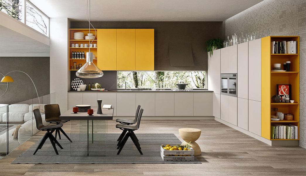 Cucina bianca e gialla laccata opaca ad angolo Seven 03