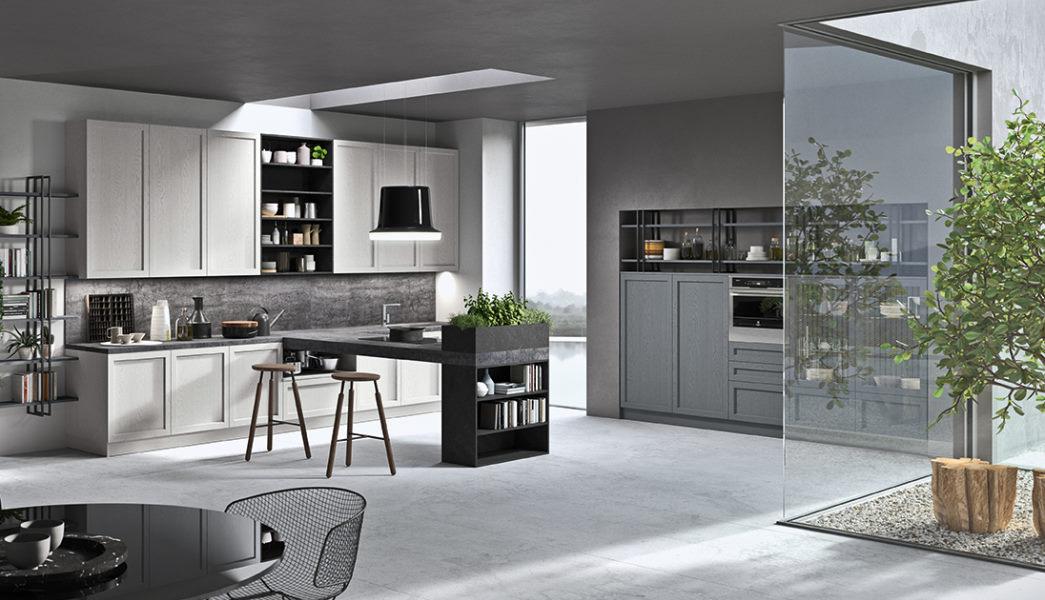 Cucina in legno laccato bianco e grigio con penisola centrale effetto cemento Fifty 04