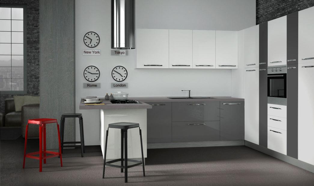 Progetto: cucina bianca e grigia scura Sistema 901 a ferro di cavallo