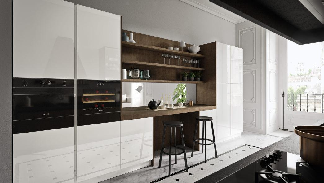 Colonne cucina laccate lucide bianche con mensolone legno scuro Six 11