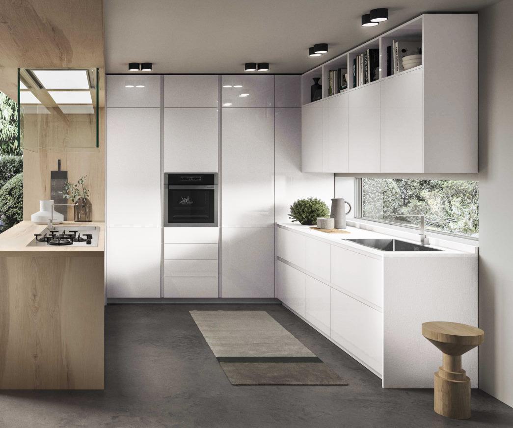Cucina laccata lucida bianca a golfo con bancone in legno Nine 04