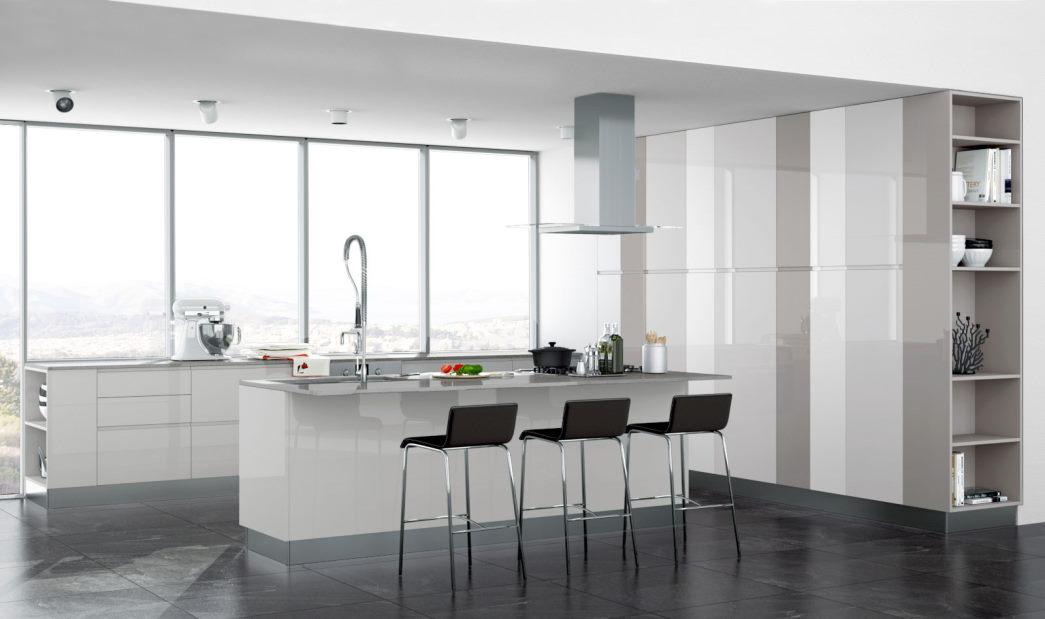 Cucina laccata lucida bianca con colonne bianco-grigie Sirio