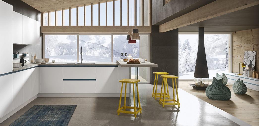 Cucina bianca con maniglie a gola blu Six 10