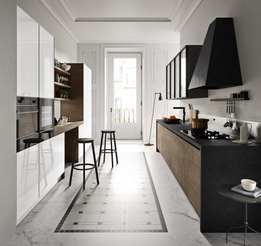 Cucina lunga e stretta con colonne bianche, basi marrone scuro, top nero Six 11