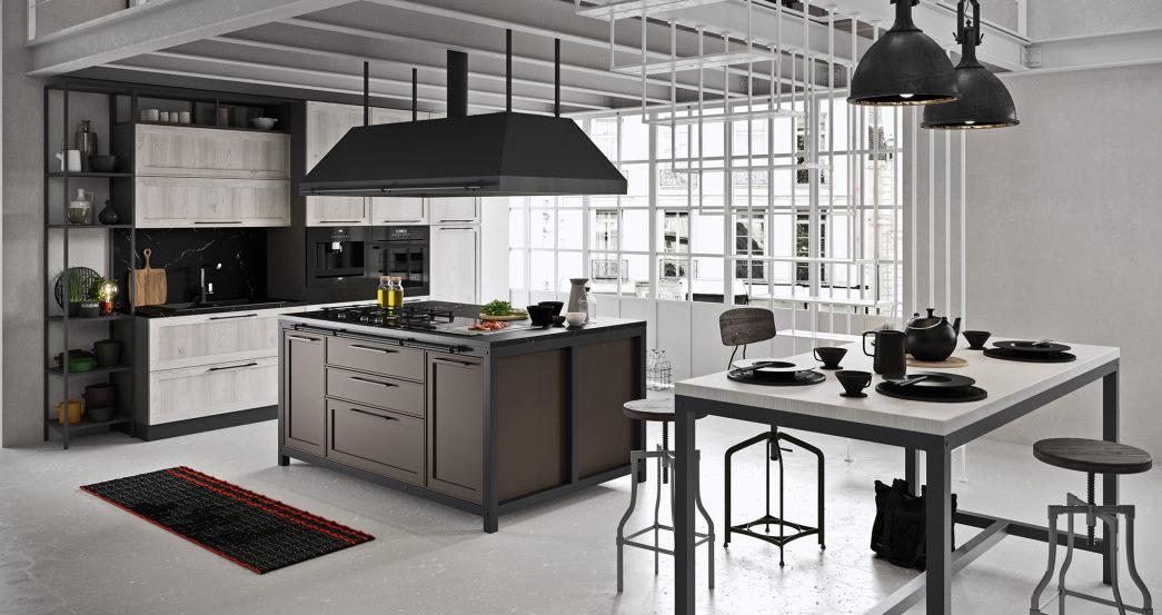 Cucina con isola in stile industriale in legno bianco e laccato marrone Sixty 03