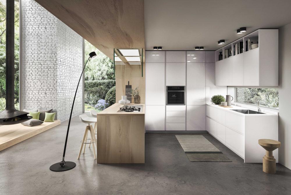 Cucina a u bianca lucida in stile nordico con bancone in legno Nine 04