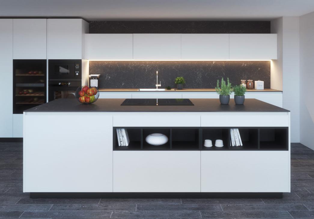 Cucina con isola bianca e nera KLab