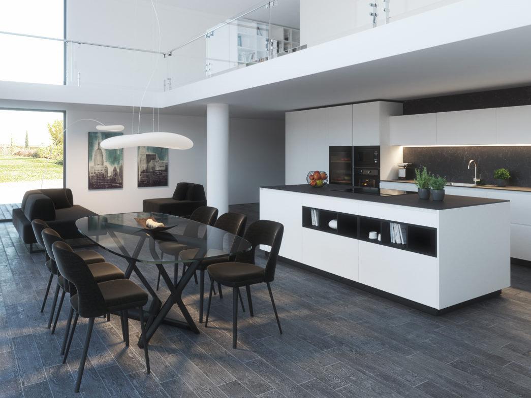 Open space con cucina bianca e nera a isola Kitchen Lab