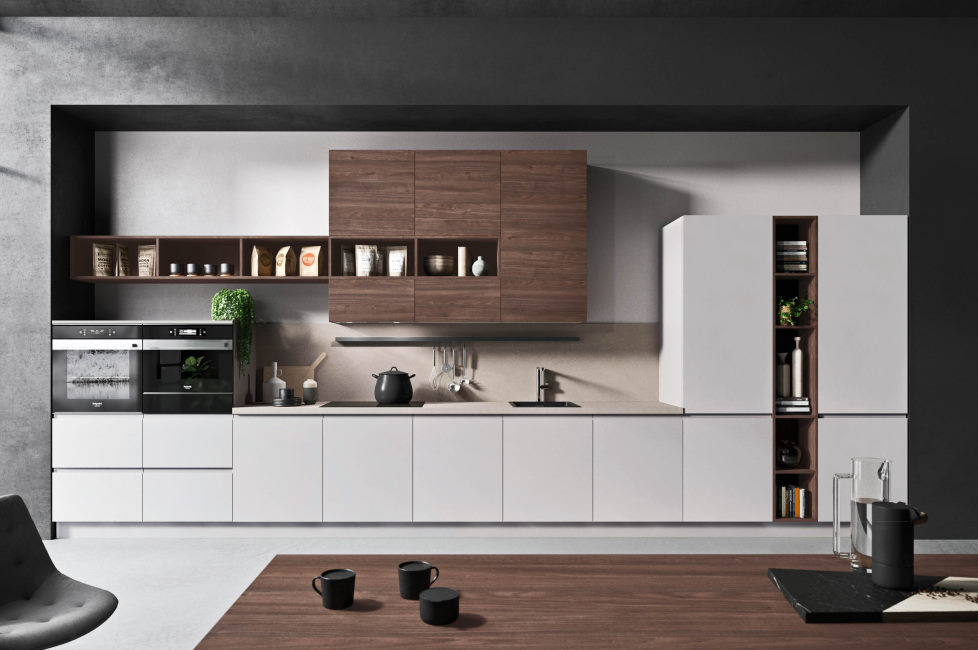Cucina bianca con pensili noce su unica parete Nine 01