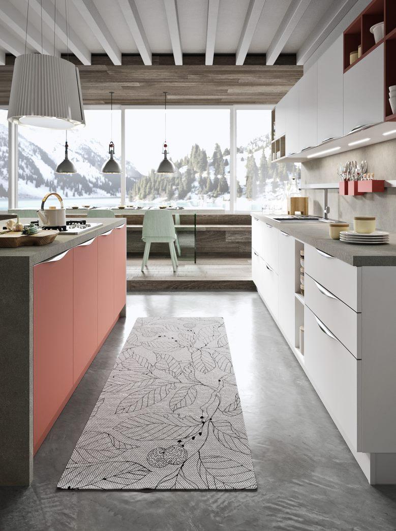 Cucina bianca e rosso corallo su due pareti parallele Five 05