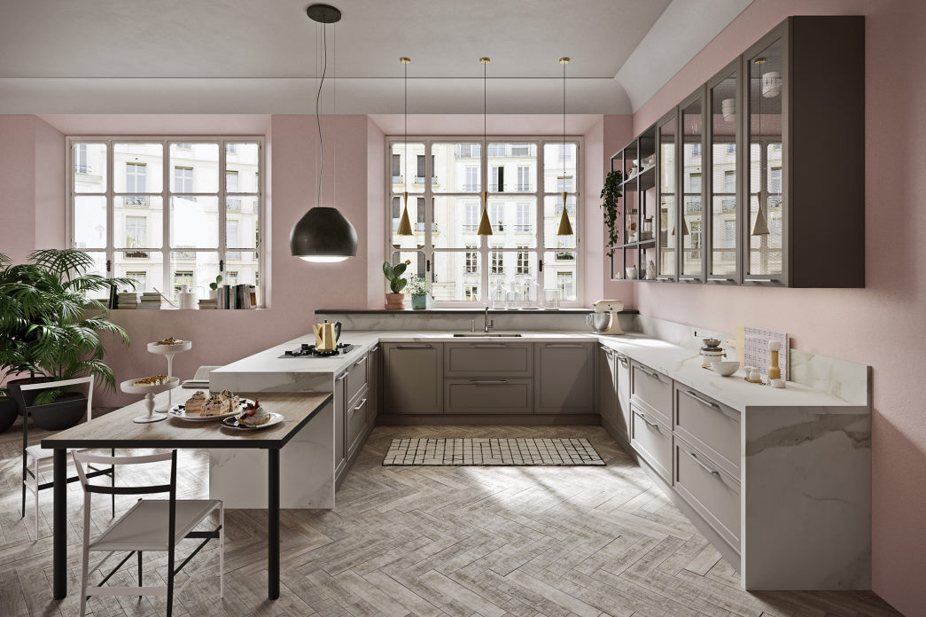 Cucina shabby chic con ante tortora e top in marmo bianco-grigio Sixty 01
