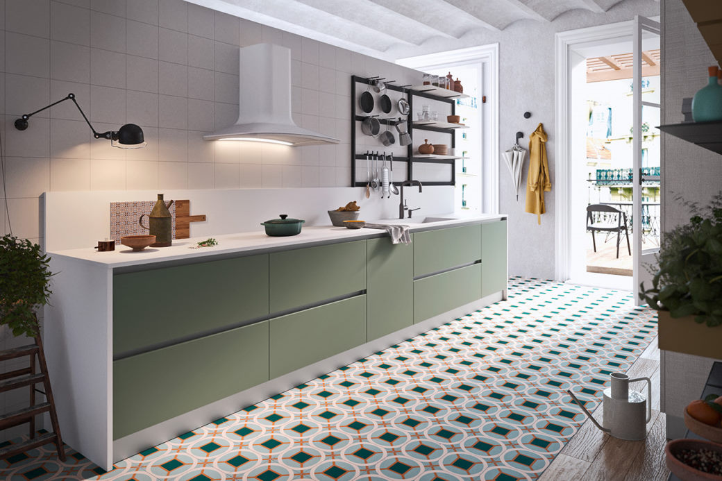 Cucina con ante verdi e top bianco