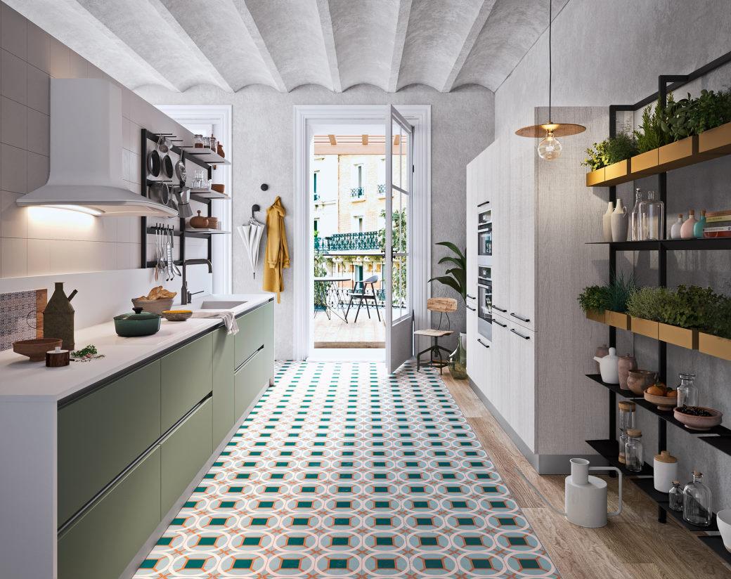 Cucina su due pareti verde con top e colonne bianche Seven 05
