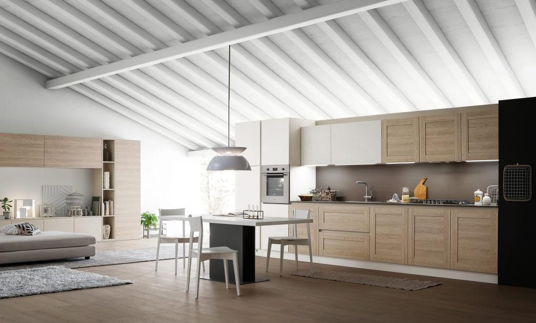 Cucina lineare laccata bianca e legno chiaro di rovere Fourty 05