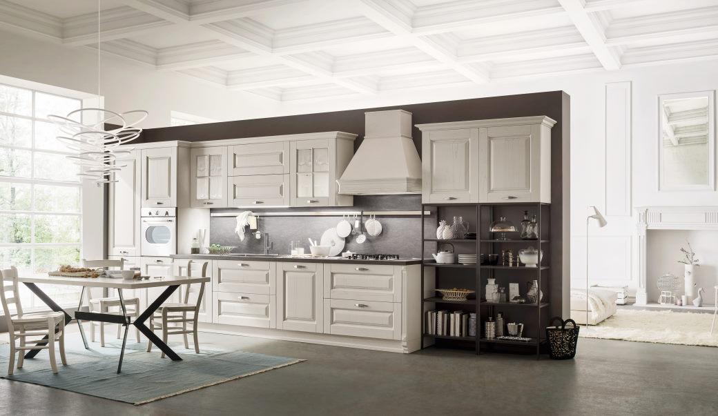 Cucina classica in legno bianco decapato Twenty 02