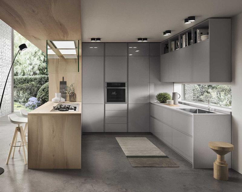 Cucina moderna a ferro di cavallo per open space con bancone snack - Nine 04